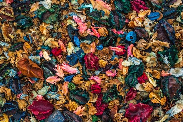 Draufsicht des beschaffenheitshintergrundes der getrockneten aromatischen blumen