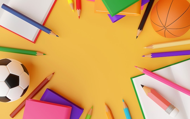 Draufsicht des briefpapierbuchballs und des raumes in der mittleren 3d-illustration