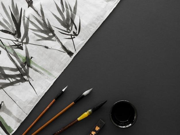 Draufsicht des chinesischen tintenkonzepts