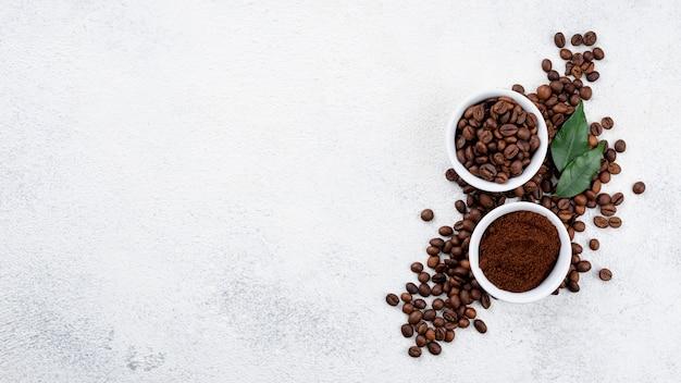 Draufsicht des kaffeekonzepts mit kopierraum