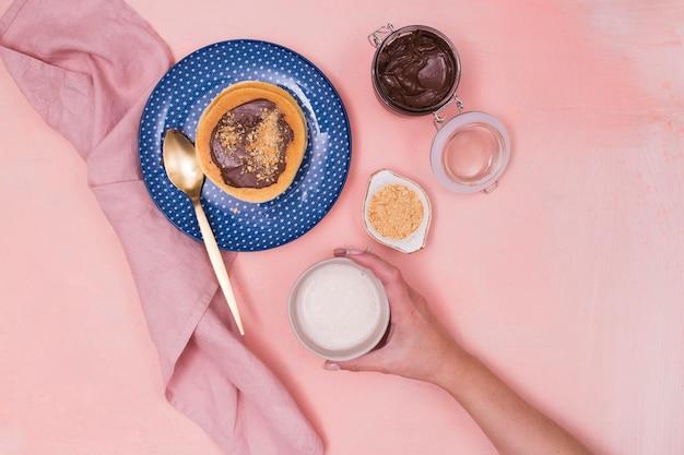 Draufsicht des köstlichen pfannkuchenfrühstücks