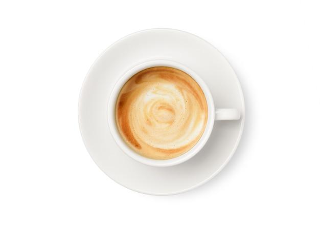 Draufsicht des lattekaffees in der weißen tasse