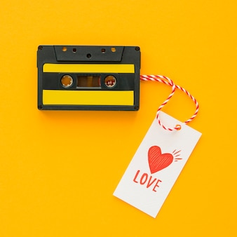 Draufsicht des musikkonzepts mit kassette