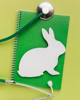Draufsicht des notizbuchs mit papierhase und stethoskop für tiertag