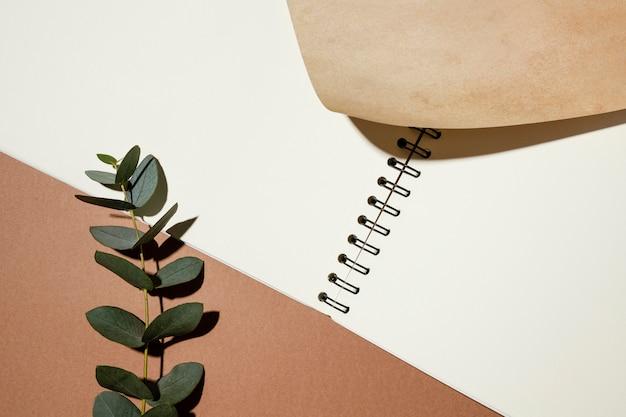 Draufsicht des notizbuchs mit pflanze