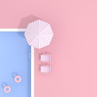 Draufsicht des pools auf rosa hintergrund.