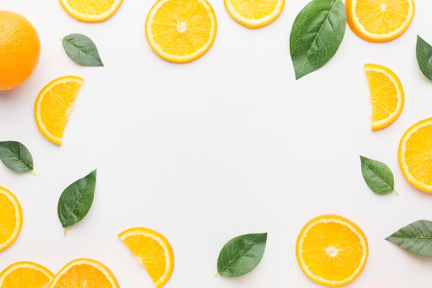 Draufsicht des rahmenkonzepts der orange scheiben