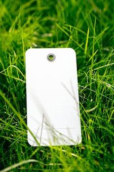 Draufsicht des rahmens aus grünem frühlingsgras und mit weißem karton leerer tag zum verkauf mit kopienraum für logo. natürliches konzept.