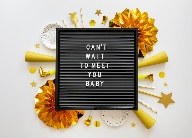 Draufsicht des schönen babypartykonzepts