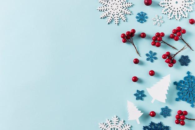 Draufsicht des schönen winters mit kopierraum