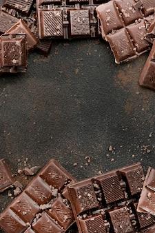 Draufsicht des schokoladenkonzepts mit kopienraum