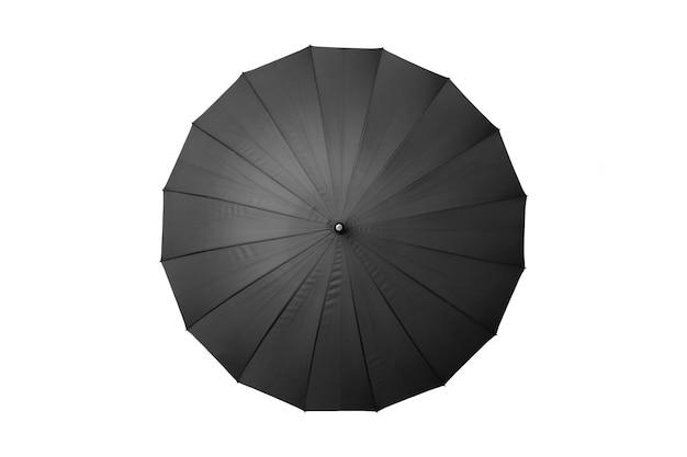 Draufsicht des schwarzen regenschirms lokalisiert auf weißem hintergrund.
