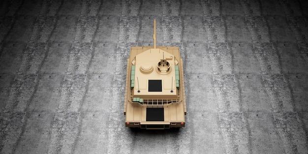 Draufsicht des schweren militärischen panzers auf betonboden am hangar