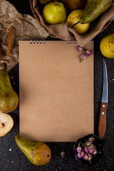 Draufsicht des skizzenbuchs mit frischen reifen birnen-küchenmesser und zimtstangen auf schwarzem hintergrund