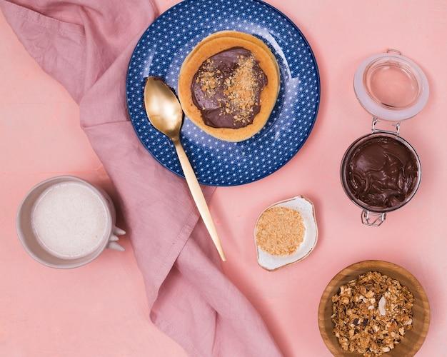 Draufsicht des süßen pfannkuchenfrühstücks
