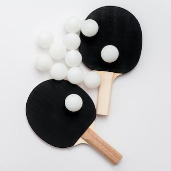 Draufsicht des tischtennissatzes