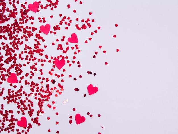 Draufsicht des valentinsgrußhintergrundes.