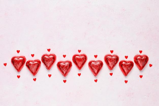 Draufsicht des valentinstaghintergrundes