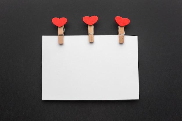 Draufsicht des valentinstagskonzepts mit kopienraum
