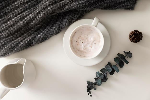 Draufsicht des winterlebensmittelkonzepts
