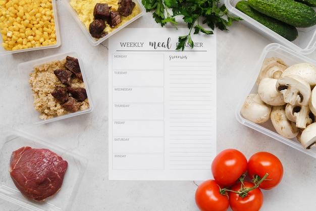 Draufsicht des wöchentlichen speiseplaners