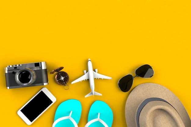 Draufsicht des zubehörs des reisenden auf gelber tabelle