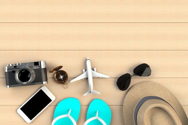 Draufsicht des zubehörs des reisenden auf holztischhintergrund, wesentliche ferieneinzelteile, reisekonzept, wiedergabe 3d