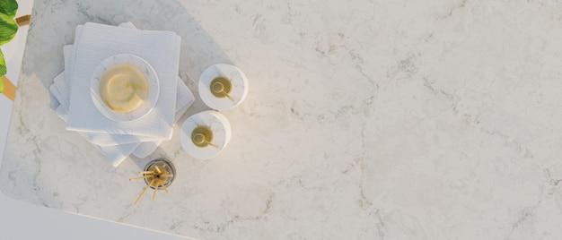 Draufsicht, draufsicht auf marmortheke mit keramischen shampooflaschen, seife, aromadiffusoren, handtüchern und leerem raum für montageprodukt, badezimmerkonzept, 3d-rendering, 3d-darstellung