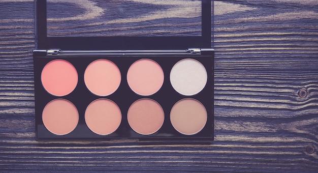 Draufsicht eine sammlung von kosmetischen make-up