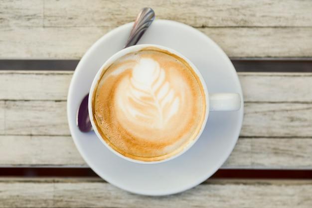 Draufsicht einer kaffeetasse