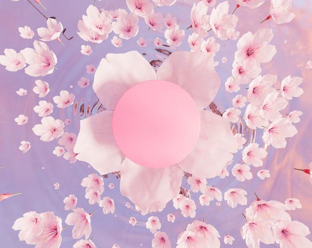 Draufsicht einer kirschblüte mit einem leeren kreis in der mitte und vielen blumen, die auf wasser fallen. produktstand. 3d-rendering