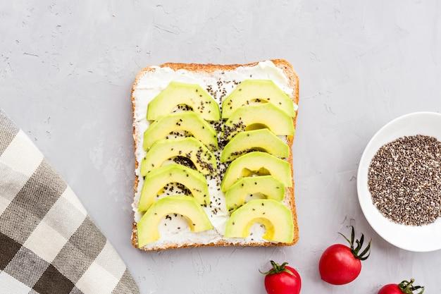 Draufsicht eines avocado-toasts