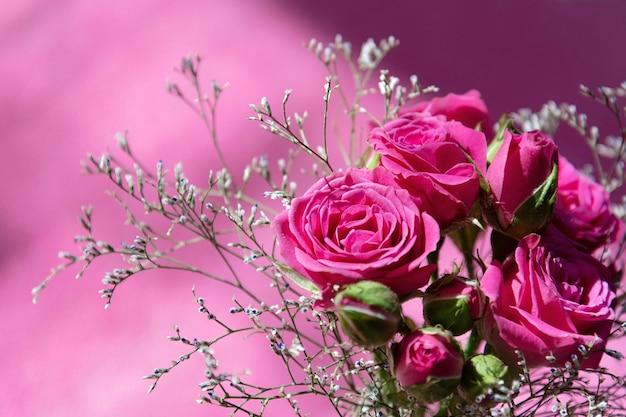 Draufsicht eines blumenstraußes der rosafarbenen sprayrosen auf einem rosafarbenen hintergrund.