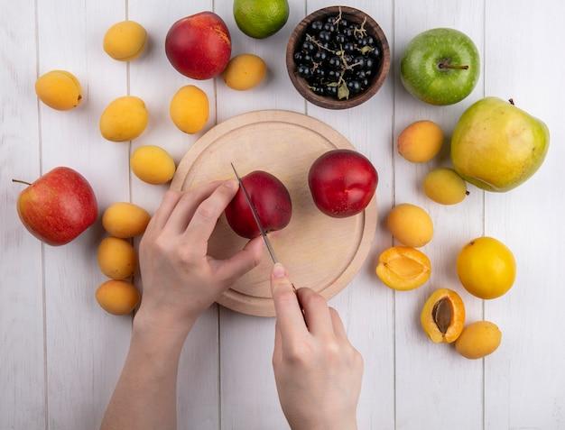 Draufsicht eines mädchens schneidet pfirsiche auf einem ständer mit aprikosenäpfeln und schwarzen johannisbeeren auf einer weißen oberfläche