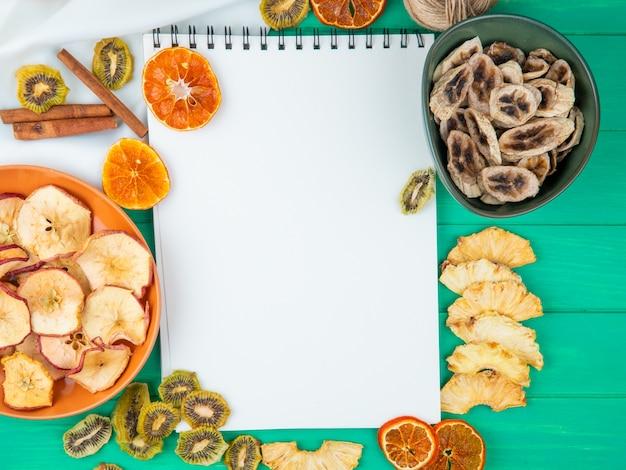 Draufsicht eines skizzenbuchs mit verschiedenen getrockneten früchten und zitrusfruchtscheiben auf grünem hintergrund