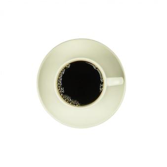Draufsicht eines tasse kaffees, isolat auf weiß