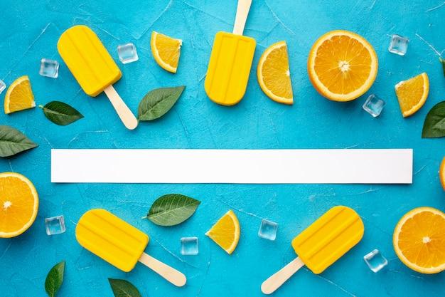Draufsicht eis orangengeschmack
