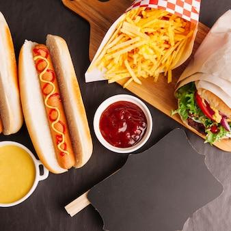 Draufsicht fast food zusammensetzung