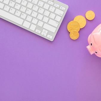 Draufsicht finanzelementanordnung mit kopierraum