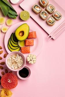 Draufsicht flexible diät mit sushi