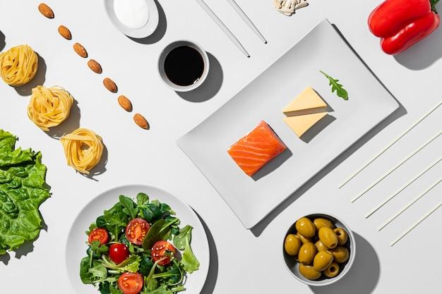 Draufsicht flexitarian diet arrangement Premium Fotos