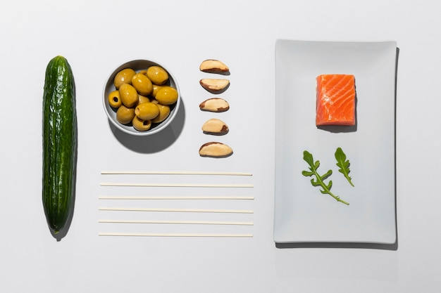 Draufsicht flexitarian diet concept