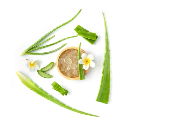 Draufsicht frische aloe vera mit scheibe und blumenisolat auf weißem hintergrund