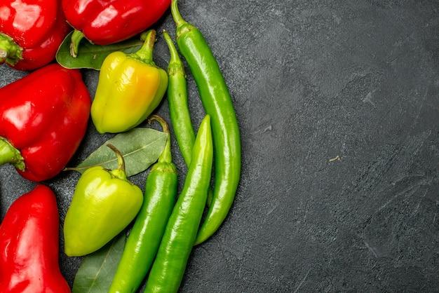 Draufsicht frische paprika