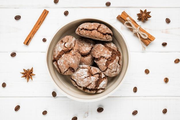 Draufsicht gebackene kekse