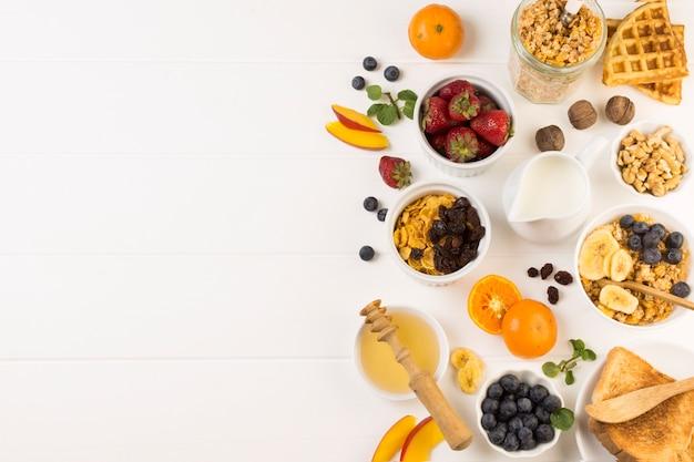 Draufsicht genussvolles frühstück
