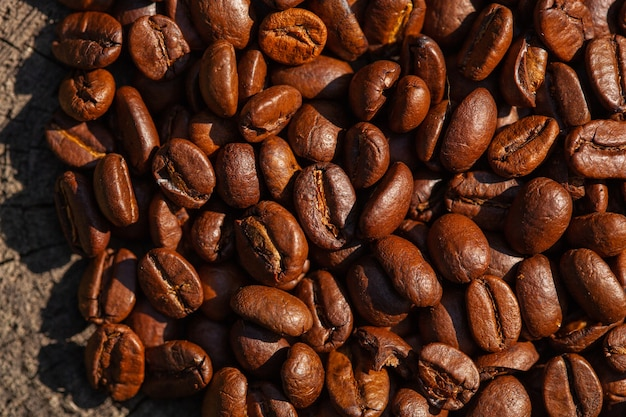 Draufsicht geröstete kaffeebohnen