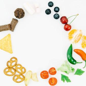 Draufsicht gerundeter nahrungsmittelrahmen