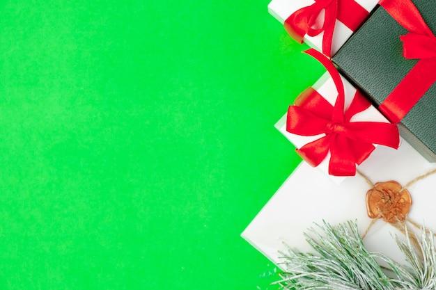 Draufsicht geschenkboxen mit kopierraum