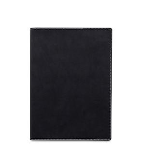 Draufsicht geschlossenes schwarzes ledernotizbuch oder tagebuch isoliert und weißer hintergrund mit beschneidungspfad